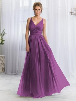 Boutique A-line V-neck Chiffon with Criss Cross Long Bridesmaid Dress in UK