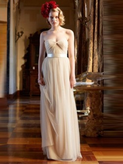 Exclusive Sweetheart Tulle Sashes / Ribbons Floor-length Champagne Bridesmaid Dress in UK