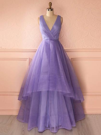 Princess V-neck Organza Floor-length Tiered Affordable Prom Dresses in UK