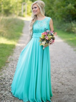Scoop Neck Lace Chiffon Ruched Floor-length Gorgeous Bridesmaid Dresses in UK