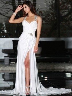 Sweetheart A-line Chiffon with Beading White Split Front Wedding Dresses in UK
