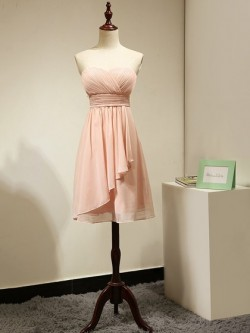 Sweetheart Chiffon Short/Mini Ruched Juniors Pink Bridesmaid Dress in UK