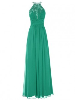 Unique Sheath/Column Scoop Neck Chiffon Floor-length Beading Open Back Prom Dresses in UK