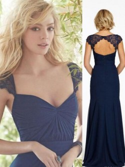 Unique V-neck A-line Chiffon with Lace Open Back Bridesmaid Dress in UK