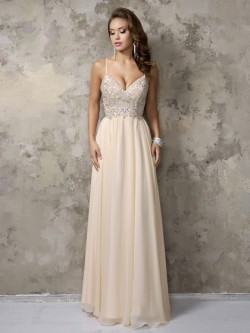 V-neck Champagne Chiffon Beading Floor-length Spaghetti Straps Prom Dresses in UK