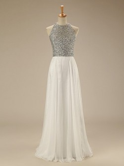 White A-line Scoop Neck Chiffon Floor-length Beading Open Back New Arrival Prom Dresses in UK