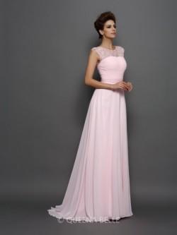 A-Line/Princess Sleeveless Scoop Chiffon Beading Sweep/Brush Train Dresses – Sexy Evening  ...
