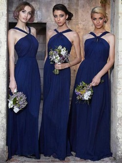 Halter Floor-length Chiffon Ruffles Affordable Dark Navy Bridesmaid Dress in UK
