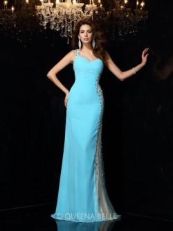 Sheath/Column One-Shoulder Sleeveless Rhinestone Chiffon Floor-Length Dresses – Evening Dr ...