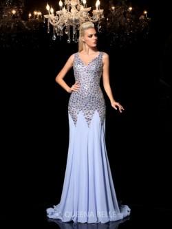 Sheath/Column Sleeveless Straps Rhinestone Sweep/Brush Train Chiffon Dresses – Sexy Evenin ...