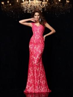 Sheath/Column V-neck Sleeveless Lace Elastic Woven Satin Floor-Length Dresses – Evening Dr ...