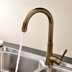 Antique Brass Finish Single Handle Kitchen Faucet – Faucetsmall.com