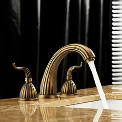 Antique Brass Finish Widespread Bathroom Sink Faucet – Faucetsmall.com