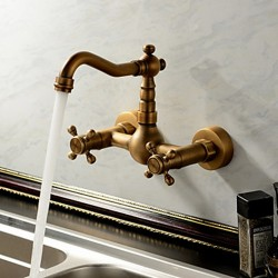 Antique inspired Kitchen Faucet Wall Mount – Antique Brass Finish – Faucetsmall.com