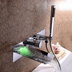 Chrome Finish – Color Changing Wall Mount Tub Faucet With Hand Shower – FaucetSuperD ...