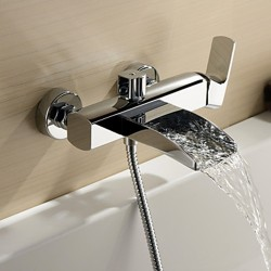 Chrome Finish Single Handle Wall Mount Waterfall Bathtub Faucet (Hand Shower not included) &#821 ...