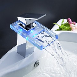 Color Changing LED Waterfall Bathroom Faucet – Faucetsmall.com