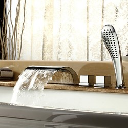 Contemporary Waterfall Tub Faucet with Hand Shower – Chrome Finish – FaucetSuperDeal.com