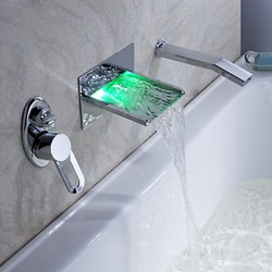 LED Waterfall Tub Faucet with Pull-out Hand Shower (Wall Mount) – FaucetSuperDeal.com