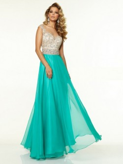 Princess Bateau Sleeveless Beading Floor-Length Chiffon Dress For Formal
