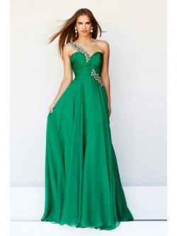 Princess Floor-length One-shoulder Crystal Beading Sleeveless Chiffon Dress