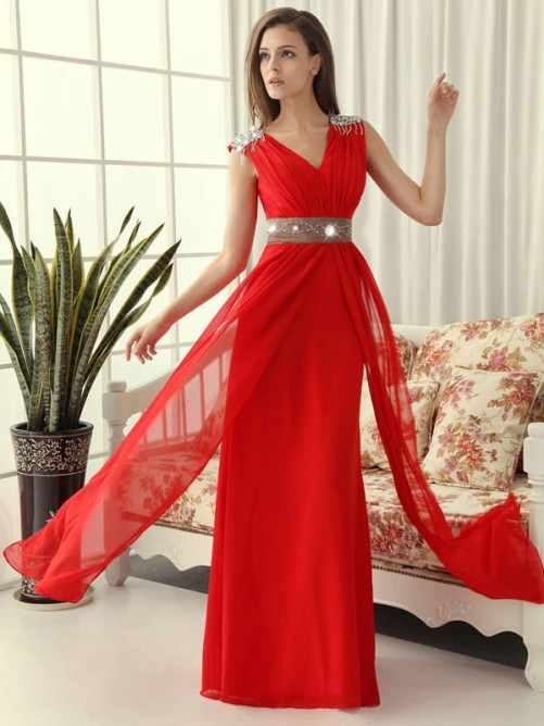 Princess Sleeveless V-neck Chiffon Floor-Length Dress