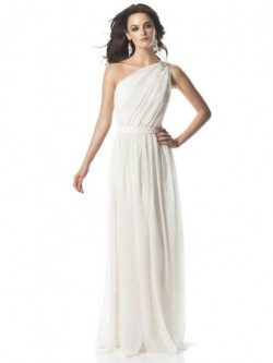 Sheath One Shoulder Floor-length Chiffon Sleeveless Dress