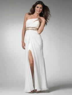 Sheath Sleeveless One Shoulder Chiffon Floor-length Dress