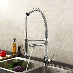 Single Handle Solid Brass Spring Kitchen Faucet with Two Spouts – Chrome Finish – Fa ...