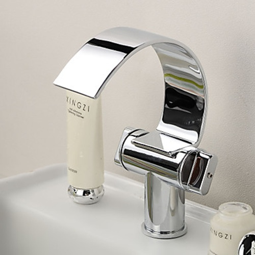 Brass Chrome Finish Waterfall Curve Spout Bathroom Sink Faucet – FaucetSuperDeal.com