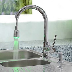 Brass Pull Down Kitchen Faucet with Color Changing LED Light – Spring – FaucetSuperD ...