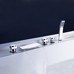 Brass Waterfall Tub Faucet with Hand Shower (Chrome Finish) – FaucetSuperDeal.com