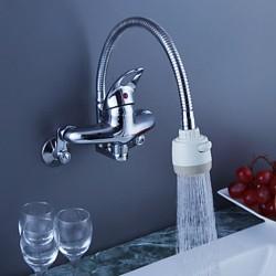 Chrome Finish Brass Kitchen Faucet with Flexible Spout (Wall Mount)– FaucetSuperDeal.com