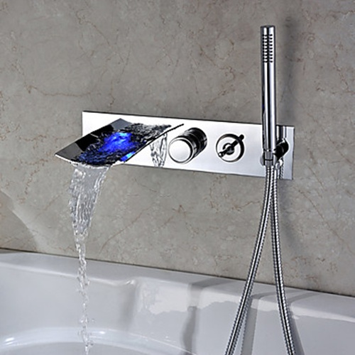 Chrome Finish Color Changing Wall Mount Tub Faucet With Hand Shower – FaucetSuperDeal.com