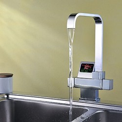 Chrome Finish – Contemporary Style Thermostatic Kitchen Faucet with LED Digital Display &# ...