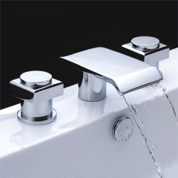 Chrome Finish Double Handle Waterfall Bathtub Faucet – FaucetSuperDeal.com
