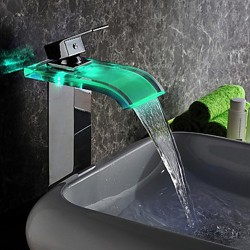 Contemporary LED Waterfall Hydroelectric Power Glass Bathroom Sink Faucet Chrome Finish(Tall) &# ...