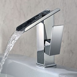 Single Handle Contemporary Solid Brass Waterfall Bathroom Sink Faucet – FaucetSuperDeal.com
