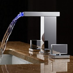 Two Handles LED Hydroelectric Waterfall Sink Faucet – FaucetSuperDeal.com