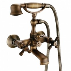 Antique Brass Tub Faucet with Hand Shower – FaucetSuperDeal.com