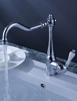 Chrome Finish White Handle Brass Kitchen Faucet – FaucetSuperDeal.com