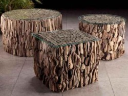 Coffee table round sticks drift wood | Living Room