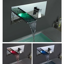 Color Changing LED Waterfall Bathroom Sink Faucet (Wall Mount) – Faucetsmall.com
