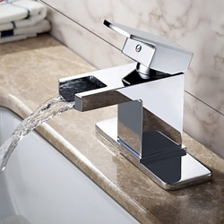Contemporary Chrome Finish Solid Brass Waterfall Bathroom Sink Faucet – Faucetsmall.com
