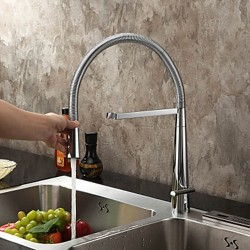 Contemporary Solid Brass Single Handle Kitchen Faucet (Chrome Finish) – Faucetsmall.com