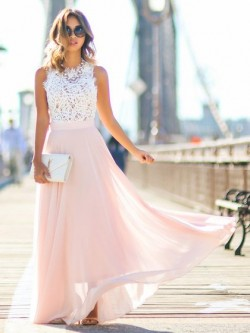 Shop A-line Scoop Neck Pink Lace Chiffon with Beading Floor-length Glamorous Ball Dresses in New ...