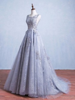 Shop Ball Gown Scoop Neck Lace Tulle with Appliques Lace Sweep Train Backless Beautiful Ball Dre ...