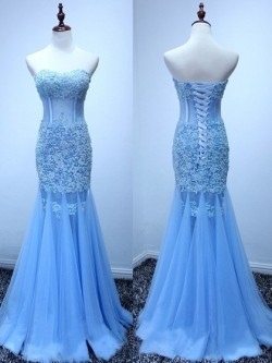 Shop Ballotion Sweetheart Tulle Appliques Lace Blue Trumpet/Mermaid Ball Dresses in New Zealand