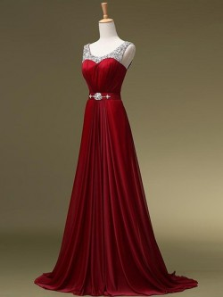Shop Boutique A-line Scoop Neck Chiffon with Beading Sweep Train Ball Dresses in New Zealand