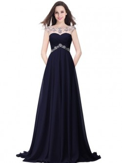 Shop Chiffon Tulle Scoop Neck Sweep Train A-line with Beading Ball Dresses in New Zealand